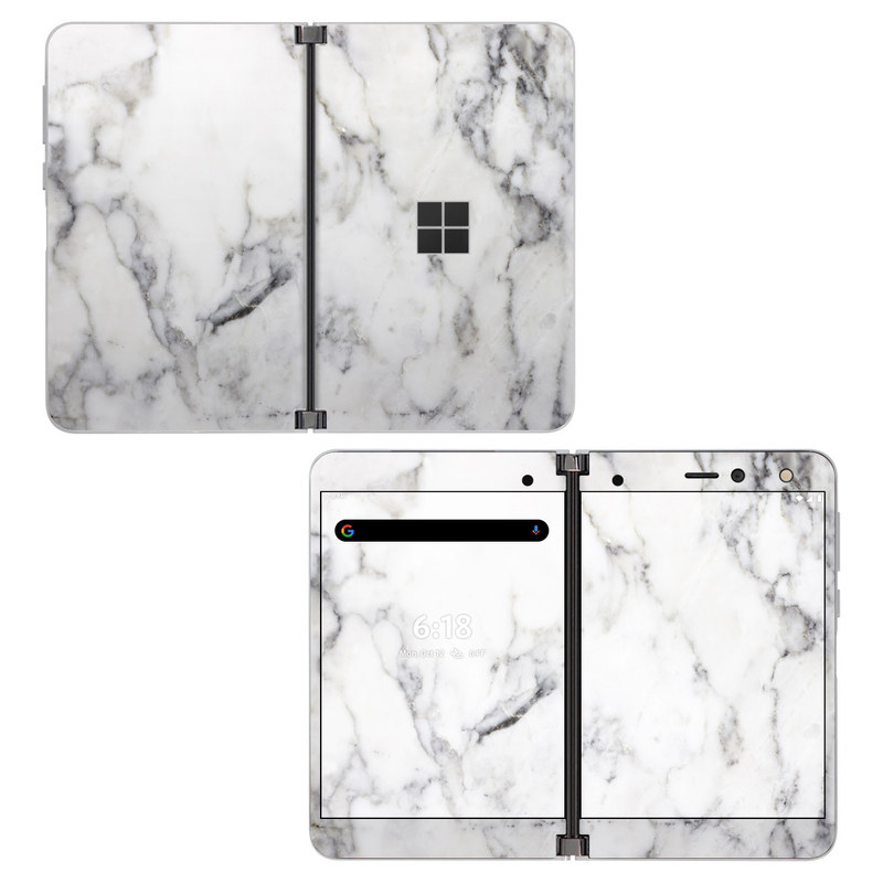 Microsoft Surface Duo Skin design of White, Geological phenomenon, Marble, Black-and-white, Freezing with white, black, gray colors