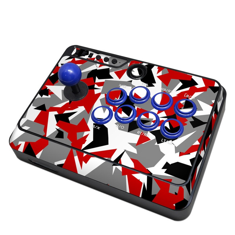 Mayflash Arcade Fightstick F300 Skin design of Red, Pattern, Font, Design, Textile, Carmine, Illustration, Flag, Crowd with red, white, black, gray colors