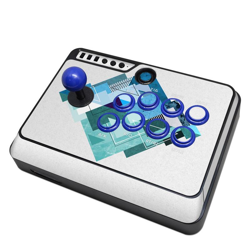 Mayflash Arcade Flightstick F300 Skin design of Blue, Turquoise, Illustration, Graphic design, Design, Line, Logo, Triangle, Graphics with gray, blue, purple colors