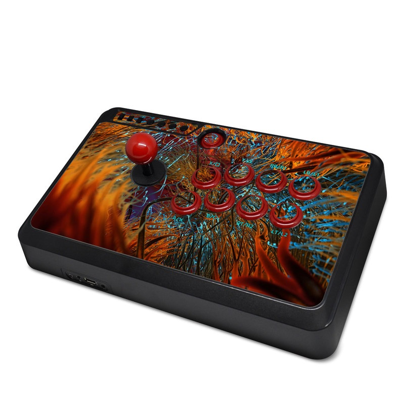 Mayflash Arcade Flightstick F500 Skin design of Orange, Tree, Electric blue, Organism, Fractal art, Plant, Art, Graphics, Space, Psychedelic art with orange, blue, red, yellow, purple colors