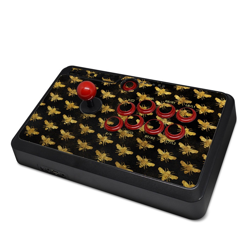 Mayflash Arcade Fightstick F500 Skin design of Pattern, Yellow, Flower, Design, Plant, Wildflower, Textile, Metal with black, yellow colors