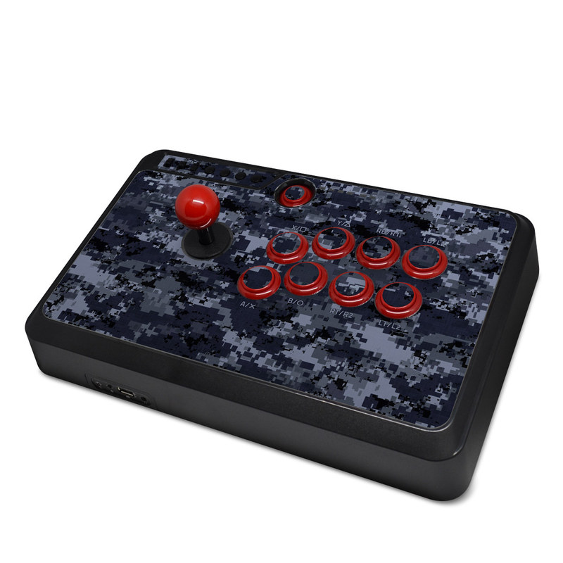 Mayflash Arcade Fightstick F500 Skin design of Military camouflage, Black, Pattern, Blue, Camouflage, Design, Uniform, Textile, Black-and-white, Space with black, gray, blue colors