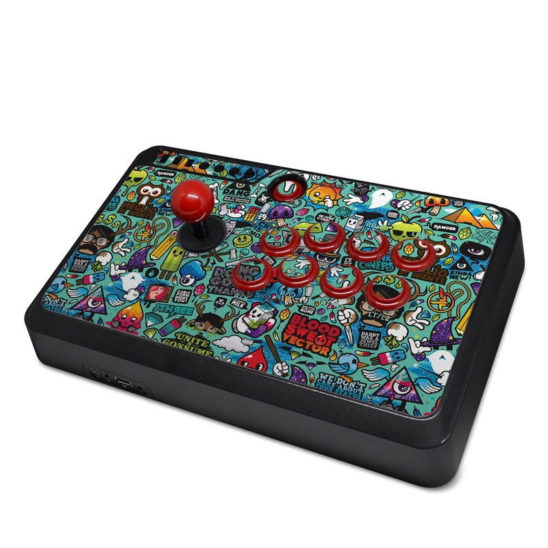Mayflash Arcade Flightstick F500 Skin design of Cartoon, Art, Pattern, Design, Illustration, Visual arts, Doodle, Psychedelic art with black, blue, gray, red, green colors