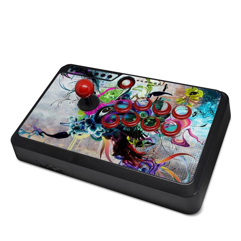 Mayflash Arcade Flightstick F500 Skin design of Graphic design, Psychedelic art, Art, Illustration, Purple, Visual arts, Graffiti, Street art, Design, Painting with gray, black, blue, green, purple colors