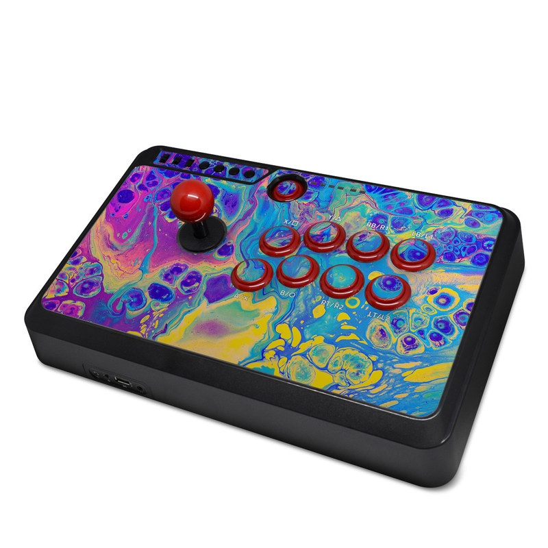 Mayflash Arcade Fightstick F500 Skin design of Psychedelic art, Pattern, Purple, Visual arts, Design, Art, Fractal art, Electric blue, Graphic design, Graphics with blue, yellow, purple, pink colors