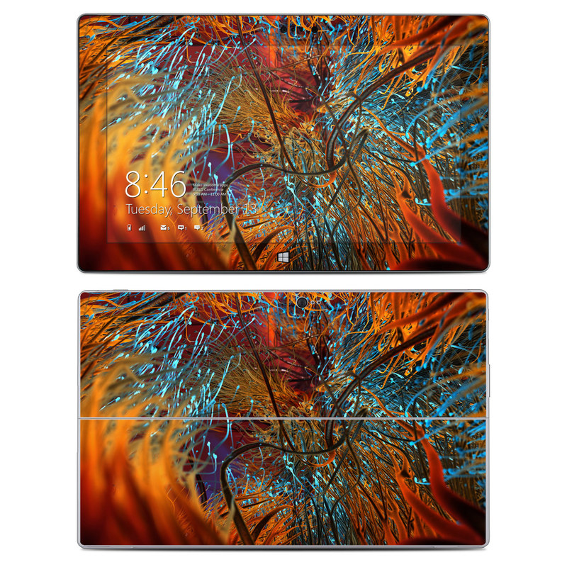Microsoft Surface 2 RT Skin design of Orange, Tree, Electric blue, Organism, Fractal art, Plant, Art, Graphics, Space, Psychedelic art with orange, blue, red, yellow, purple colors
