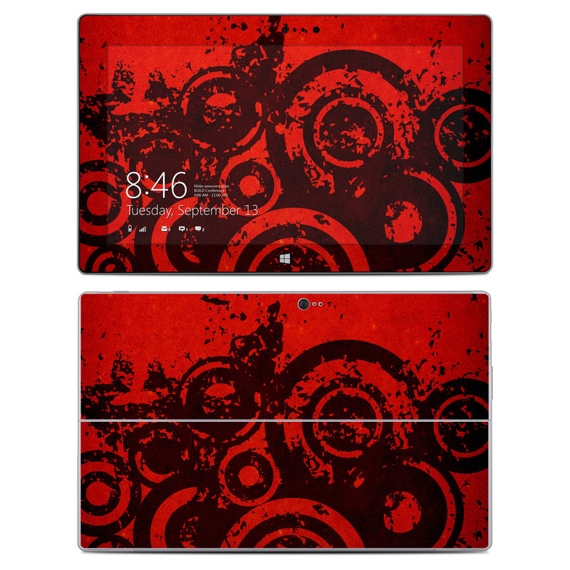 Microsoft Surface 2 RT Skin design of Red, Circle, Pattern, Design, Visual arts, Font, Graphics, Graphic design, Art, Still life photography with red, black colors