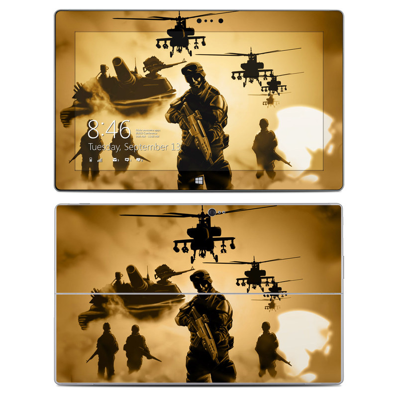 Microsoft Surface 2 RT Skin design of Soldier, Army men, Military organization, Infantry, Army, Military, Military person, Military uniform, Marines, Military officer with green, black, pink, red, gray, yellow colors
