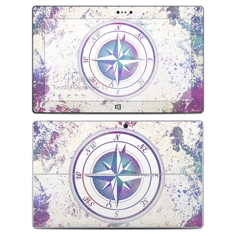 Microsoft Surface 2 RT Skin design of Clock, Circle, Compass, Graphics, Pattern, Illustration, Interior design with gray, white, yellow, pink, purple, blue colors