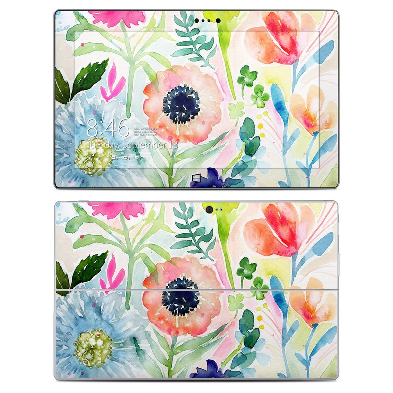 Microsoft Surface 2 RT Skin design of Flower, Watercolor paint, Plant, Flowering plant, Pattern, Floral design, Botany, Petal, Wildflower, Design with green, pink, yellow, orange, blue, red, purple colors