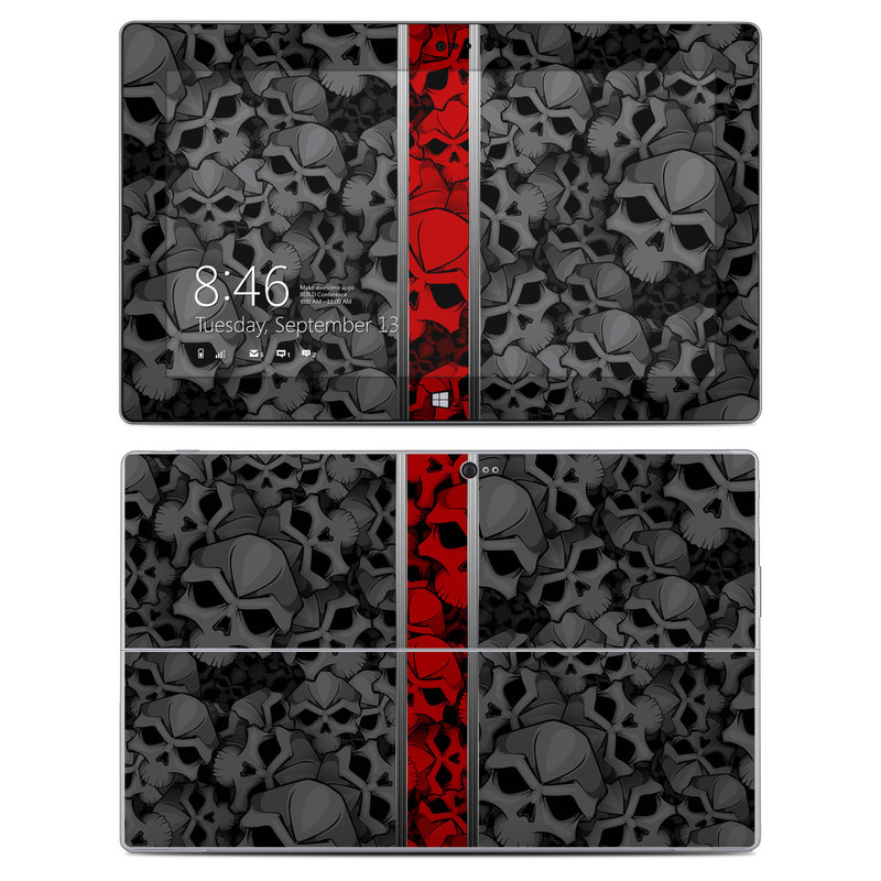 Microsoft Surface 2 RT Skin design of Font, Text, Pattern, Design, Graphic design, Black-and-white, Monochrome, Graphics, Illustration, Art with black, red, gray colors