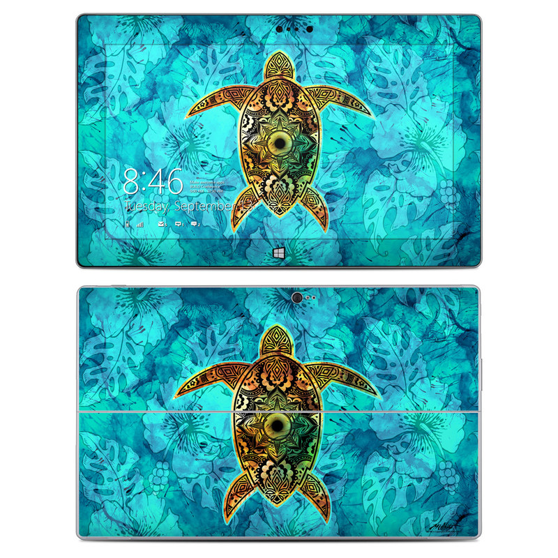 Microsoft Surface 2 RT Skin design of Sea turtle, Green sea turtle, Turtle, Hawksbill sea turtle, Tortoise, Reptile, Loggerhead sea turtle, Illustration, Art, Pattern with blue, black, green, gray, red colors
