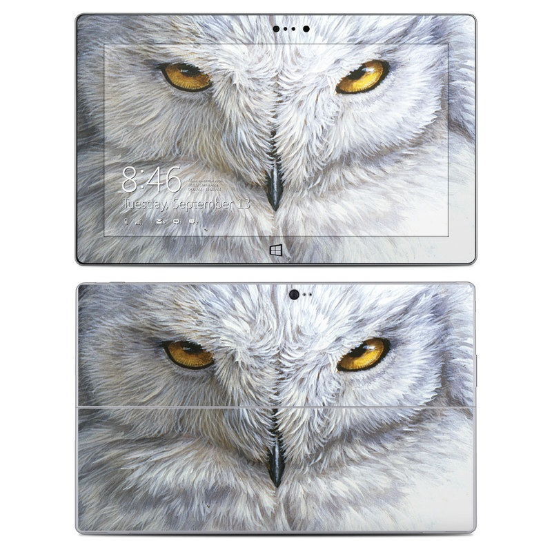 Microsoft Surface 2 RT Skin design of Owl, Bird, Bird of prey, Snowy owl, great grey owl, Close-up, Eye, Snout, Wildlife, Eastern Screech owl with gray, white, black, blue, purple colors