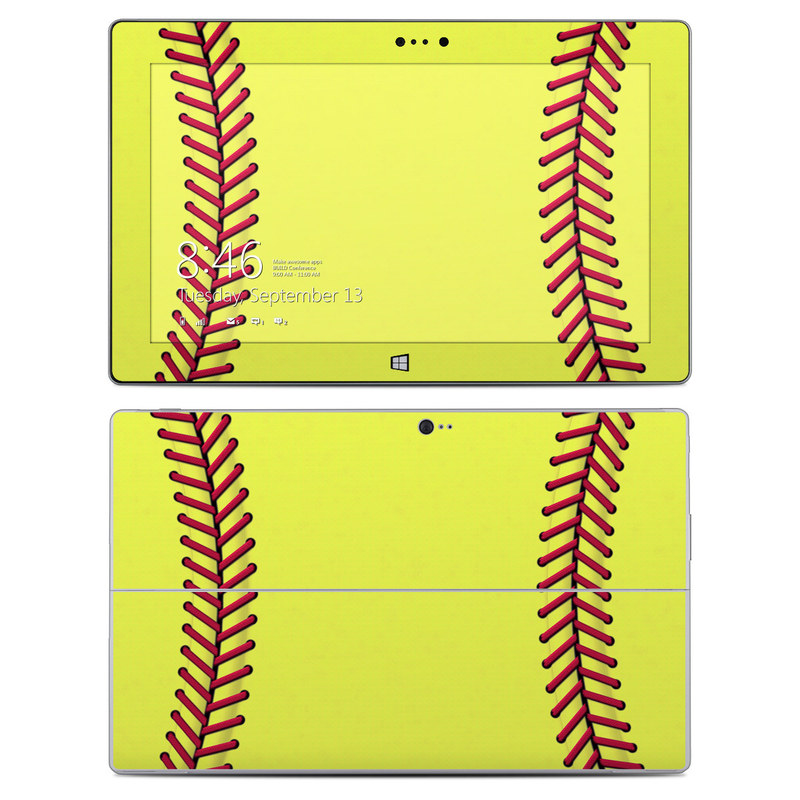 Microsoft Surface 2 RT Skin design of Yellow, Line, Parallel with green, red, black colors