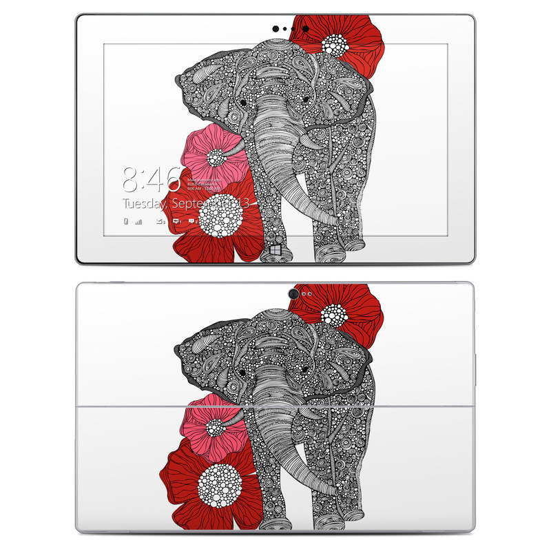 Microsoft Surface 2 RT Skin design of Indian elephant, Elephants and Mammoths, African elephant, Line art, Illustration with gray, black, white, red colors