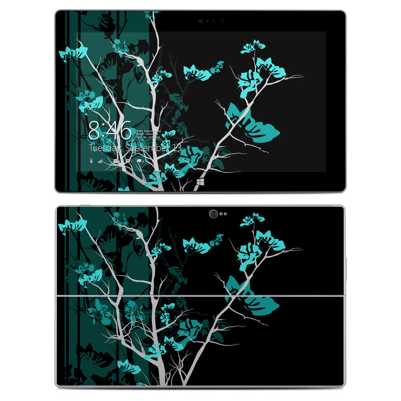 Microsoft Surface 2 RT Skin design of Branch, Black, Blue, Green, Turquoise, Teal, Tree, Plant, Graphic design, Twig with black, blue, gray colors