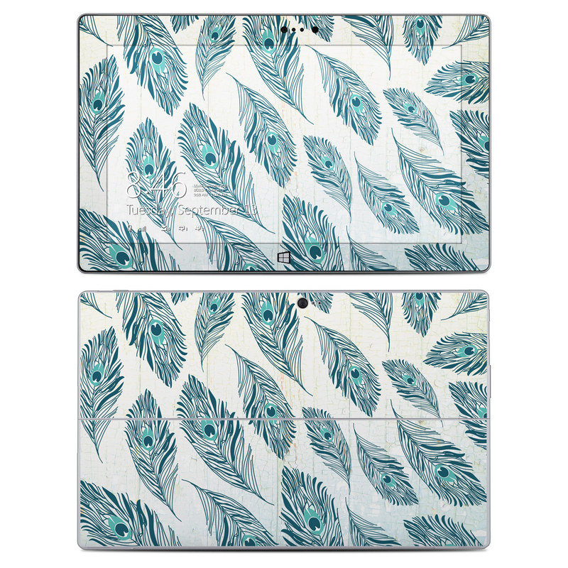 Microsoft Surface 2 RT Skin design of Feather, Leaf, Botany, Pattern, Plant, Vascular plant, White pine, Natural material, Fashion accessory with gray, blue, green, white, yellow colors