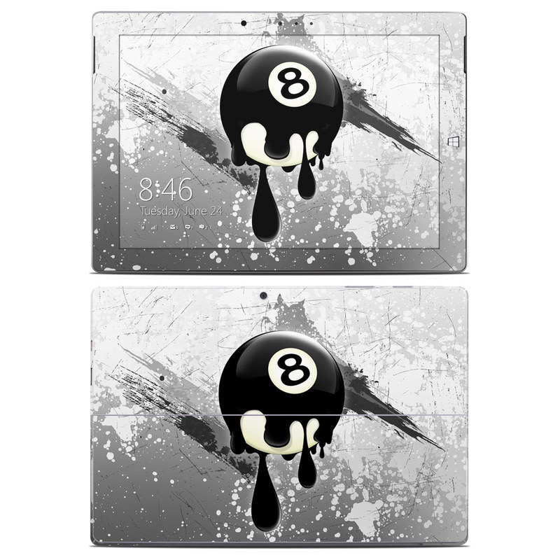 Microsoft Surface 3 Skin design of Eight-ball, Games, Billiard ball, Pool, Indoor games and sports, Cartoon, Ball, Graphic design, Pocket billiards, Animated cartoon with black, yellow, green colors