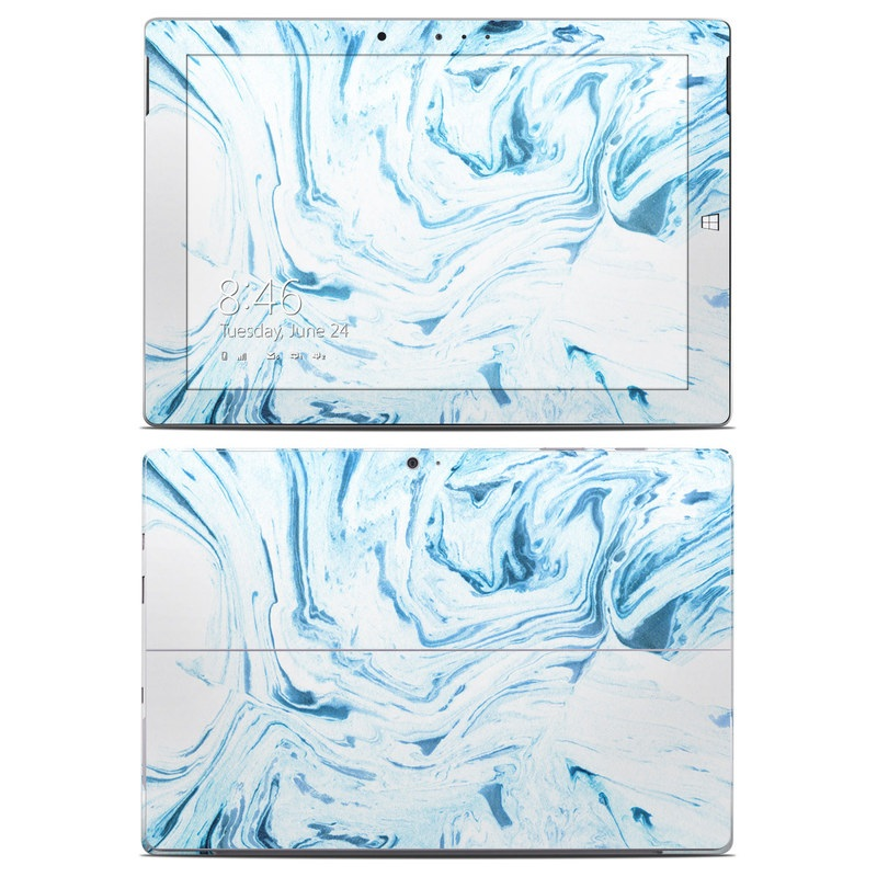 Microsoft Surface 3 Skin design of Water, Aqua, Wind wave, Drawing, Painting, Wave, Pattern, Art with blue colors