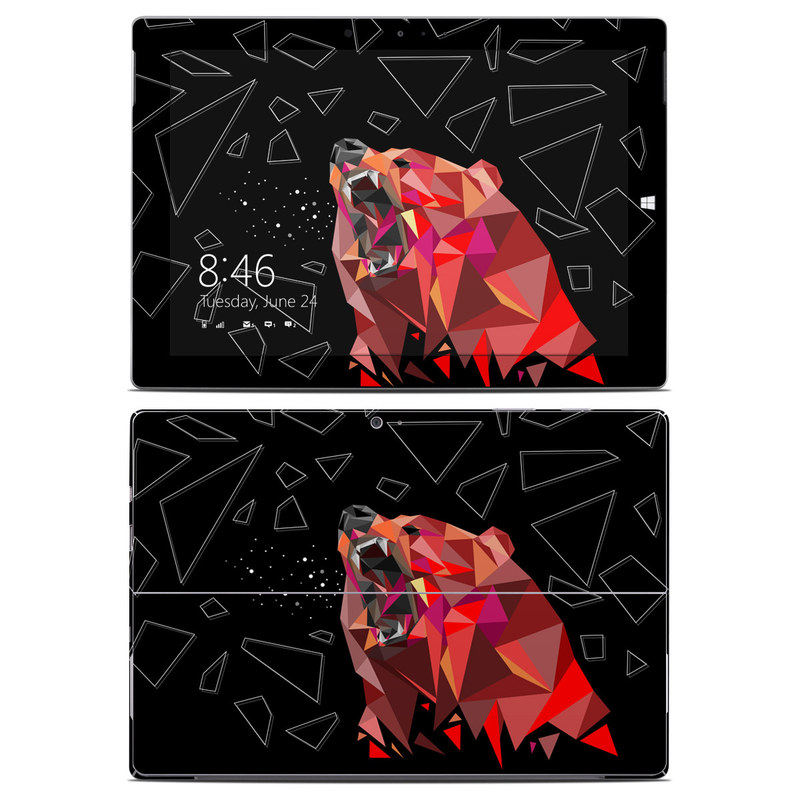 Microsoft Surface 3 Skin design of Graphic design, Triangle, Font, Illustration, Design, Art, Visual arts, Graphics, Pattern, Space with black, red colors