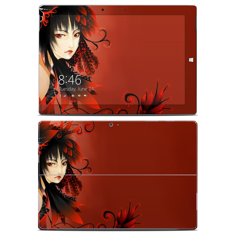 Microsoft Surface 3 Skin design of Red, Cg artwork, Anime, Illustration, Fictional character, Black hair, Graphic design with red, black, yellow colors