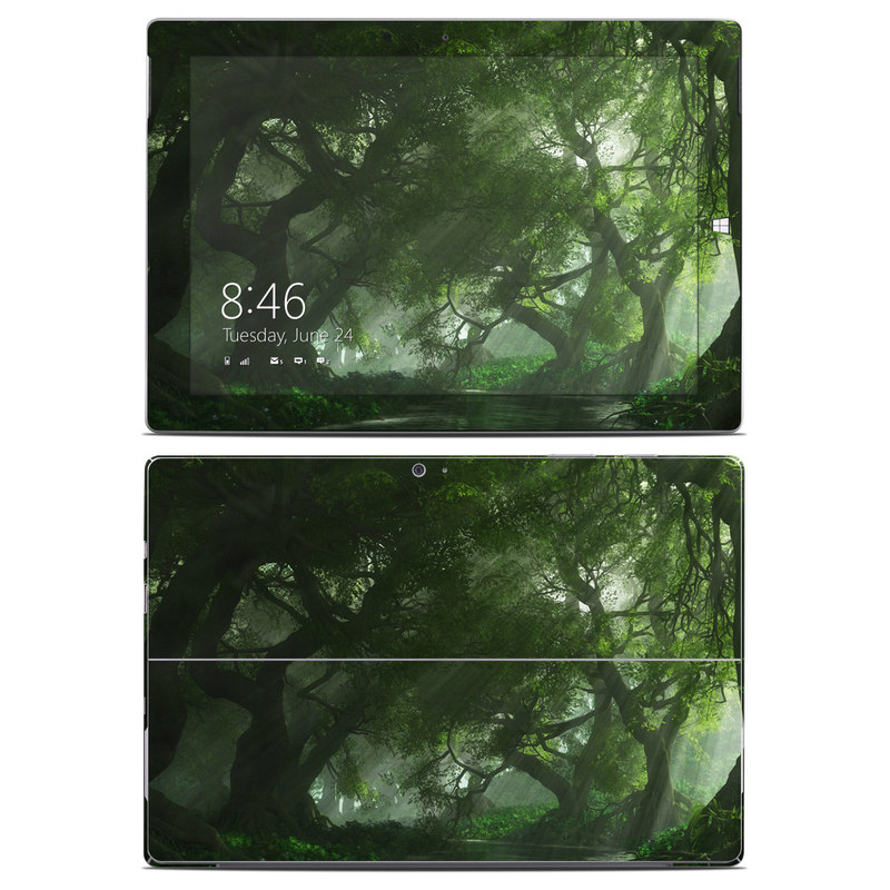 Microsoft Surface 3 Skin design of Nature, Tree, Natural landscape, Green, Natural environment, Old-growth forest, Vegetation, Forest, Jungle, Nature reserve with green, black colors