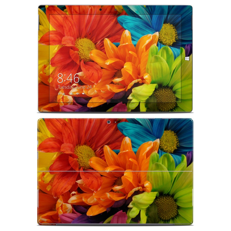 Microsoft Surface 3 Skin design of Flower, Petal, Orange, Cut flowers, Yellow, Plant, Bouquet, Floral design, Flowering plant, Gerbera with red, green, black, blue colors