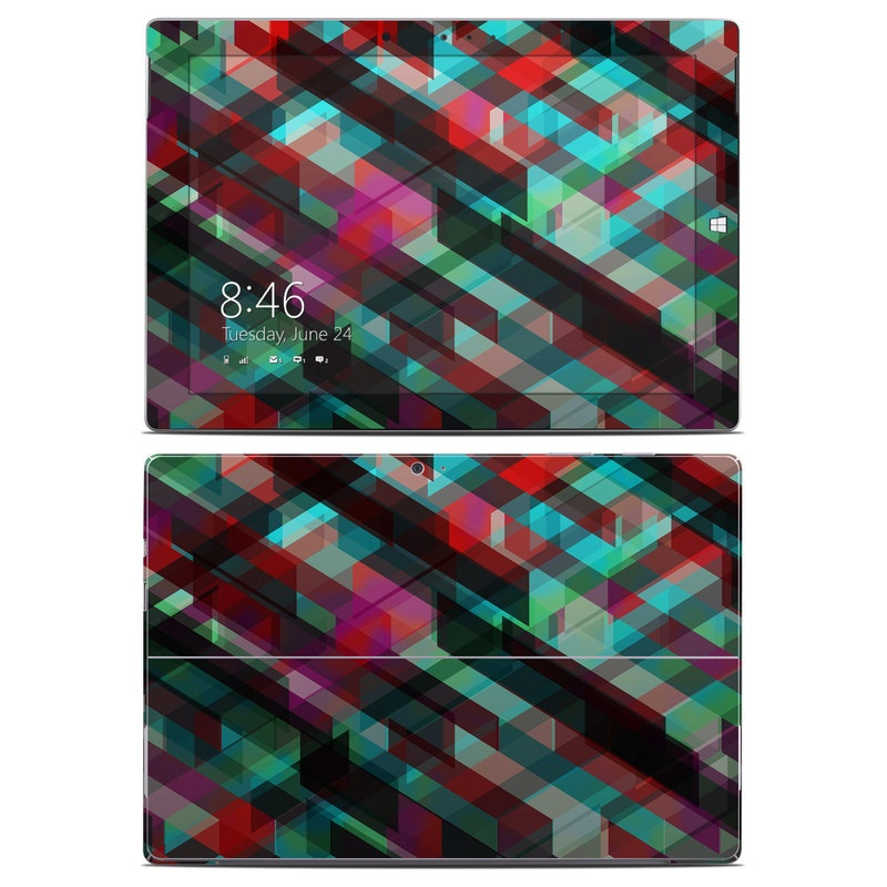 Microsoft Surface 3 Skin design of Green, Pattern, Magenta, Purple, Orange, Line, Design, Textile, Plaid with black, red, green, blue, gray colors