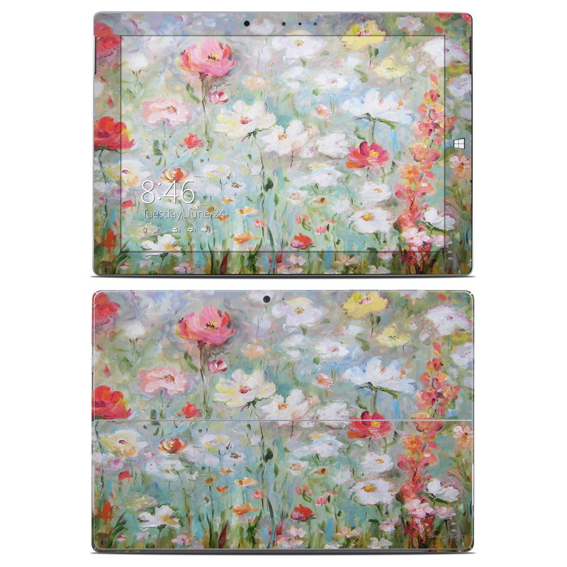 Microsoft Surface 3 Skin design of Flower, Painting, Watercolor paint, Plant, Modern art, Wildflower, Botany, Meadow, Acrylic paint, Flowering plant with gray, black, green, red, blue colors