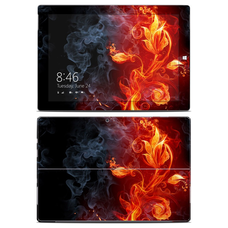 Microsoft Surface 3 Skin design of Flame, Fire, Heat, Red, Orange, Fractal art, Graphic design, Geological phenomenon, Design, Organism with black, red, orange colors