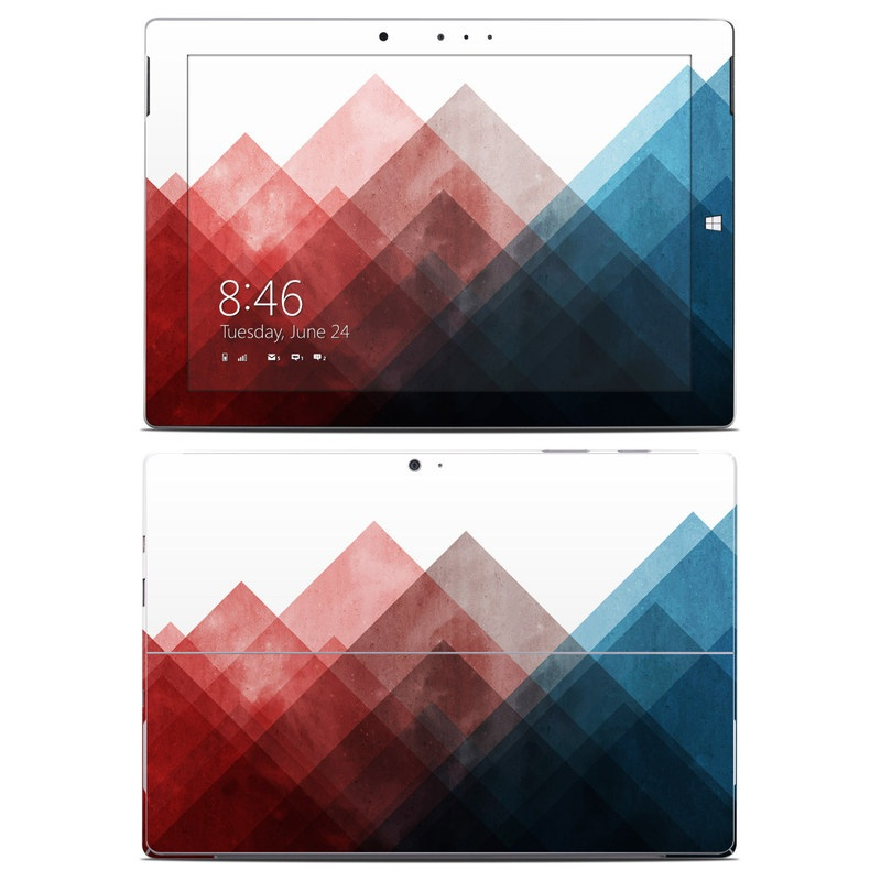 Microsoft Surface 3 Skin design of Blue, Red, Sky, Pink, Line, Architecture, Font, Graphic design, Colorfulness, Illustration with red, pink, blue colors