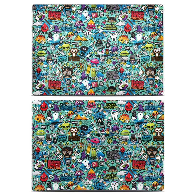 Microsoft Surface 3 Skin design of Cartoon, Art, Pattern, Design, Illustration, Visual arts, Doodle, Psychedelic art with black, blue, gray, red, green colors