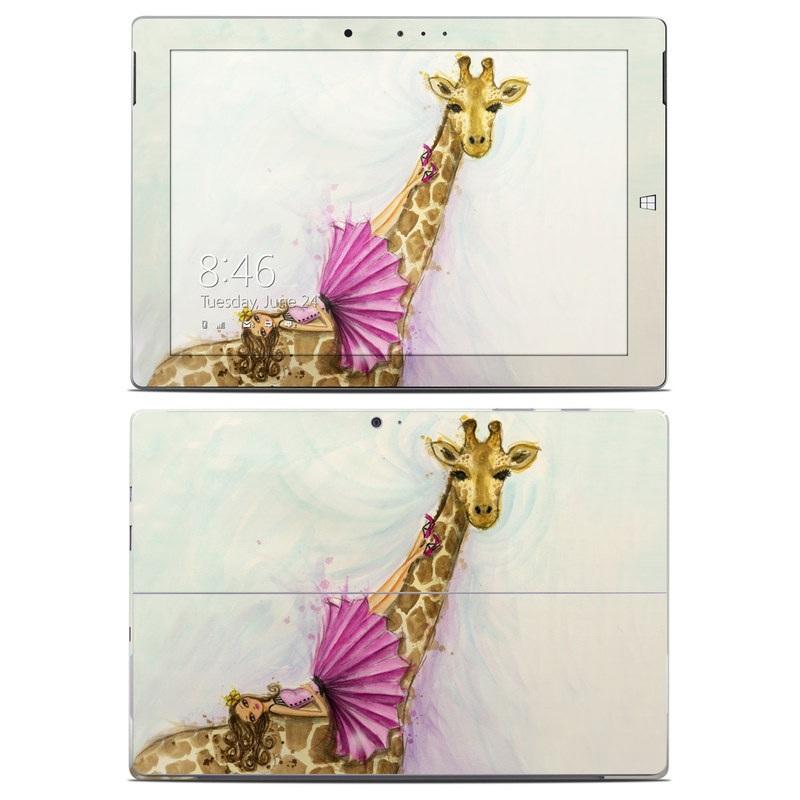 Microsoft Surface 3 Skin design of Giraffe, Giraffidae, Terrestrial animal, Pink, Wildlife, Snout, Fawn, Illustration, Watercolor paint, Magenta with blue, brown, orange, pink colors