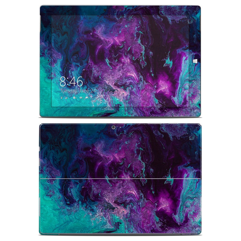 Microsoft Surface 3 Skin design of Blue, Purple, Violet, Water, Turquoise, Aqua, Pink, Magenta, Teal, Electric blue with blue, purple, black colors