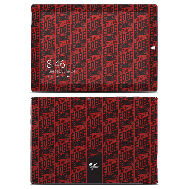 Microsoft Surface 3 Skin design of Pattern, Red, Maroon, Plaid, Design, Line, Font, Textile, Woven fabric with black, red colors