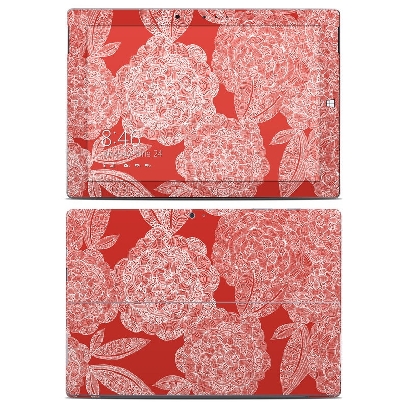 Red Dahlias Microsoft Surface 3 Skin