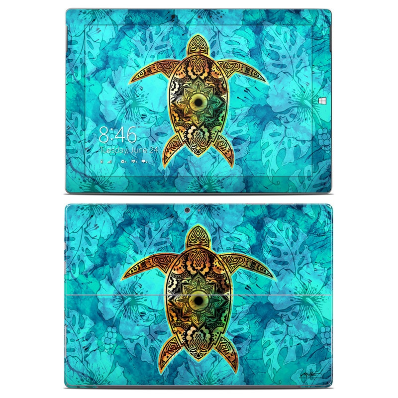 Microsoft Surface 3 Skin design of Sea turtle, Green sea turtle, Turtle, Hawksbill sea turtle, Tortoise, Reptile, Loggerhead sea turtle, Illustration, Art, Pattern with blue, black, green, gray, red colors