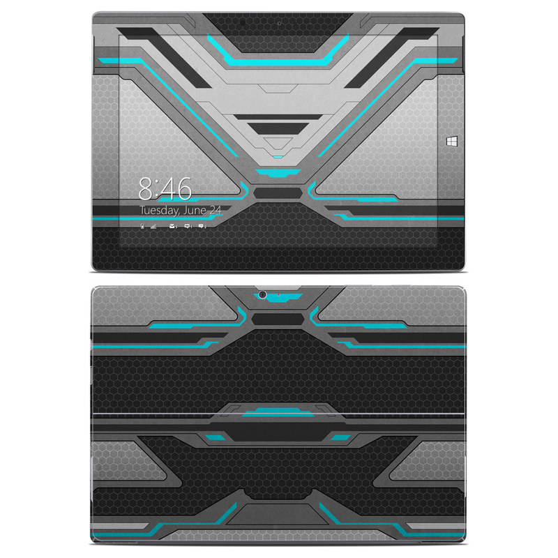Microsoft Surface 3 Skin design of Blue, Turquoise, Pattern, Teal, Symmetry, Design, Line, Automotive design, Font with black, gray, blue colors