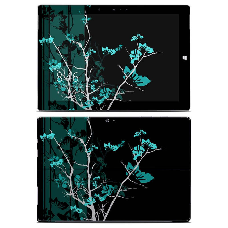 Microsoft Surface 3 Skin design of Branch, Black, Blue, Green, Turquoise, Teal, Tree, Plant, Graphic design, Twig with black, blue, gray colors