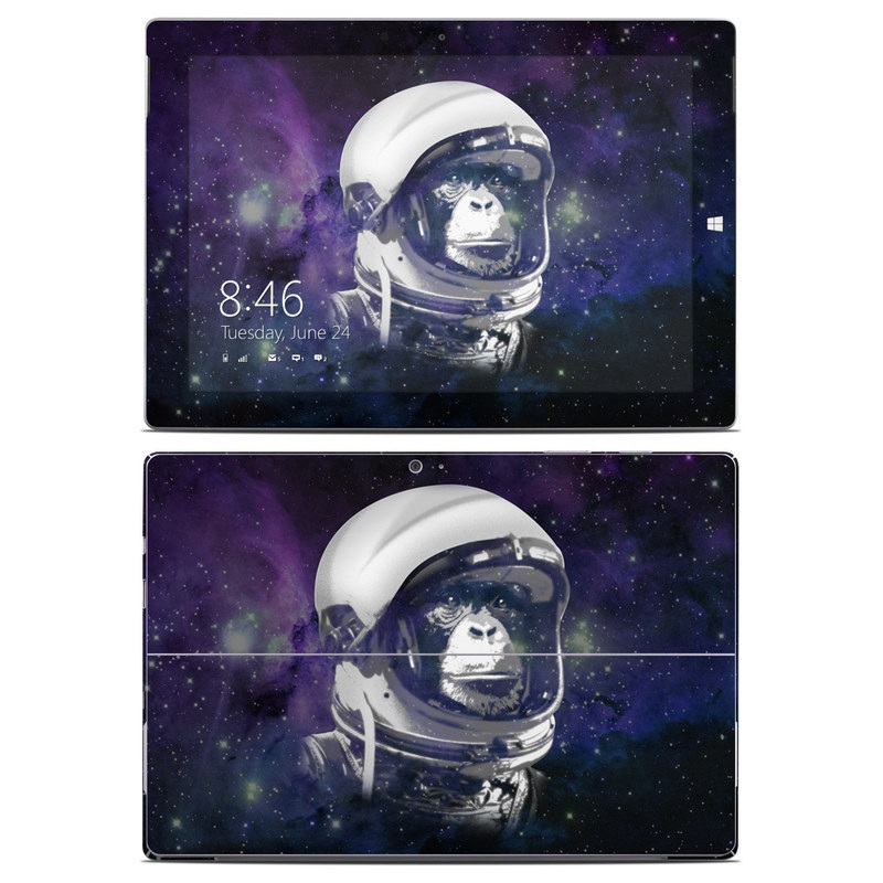 Microsoft Surface 3 Skin design of Helmet, Astronaut, Personal protective equipment, Illustration, Space, Outer space, Headgear, Fictional character, Sports gear, Football gear with black, gray, blue, white colors