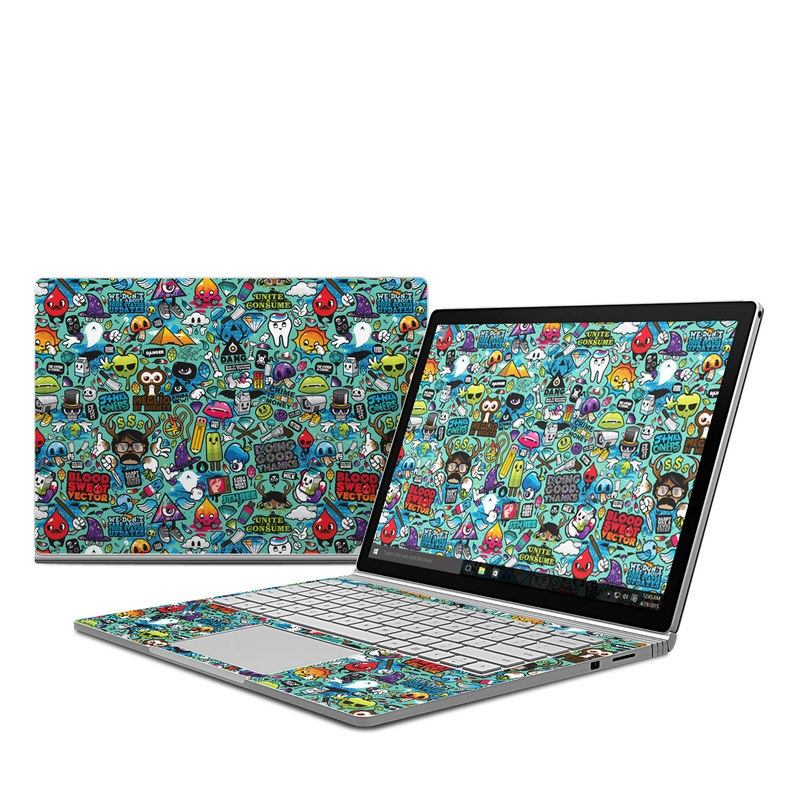 Microsoft Surface Book 1 Skin design of Cartoon, Art, Pattern, Design, Illustration, Visual arts, Doodle, Psychedelic art with black, blue, gray, red, green colors