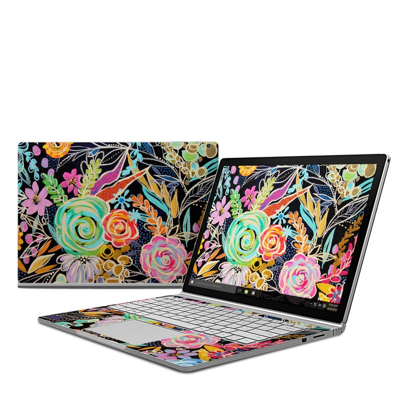 Microsoft Surface Book 1 Skin design of Pattern, Floral design, Design, Textile, Visual arts, Art, Graphic design, Psychedelic art, Plant with black, gray, green, red, blue colors