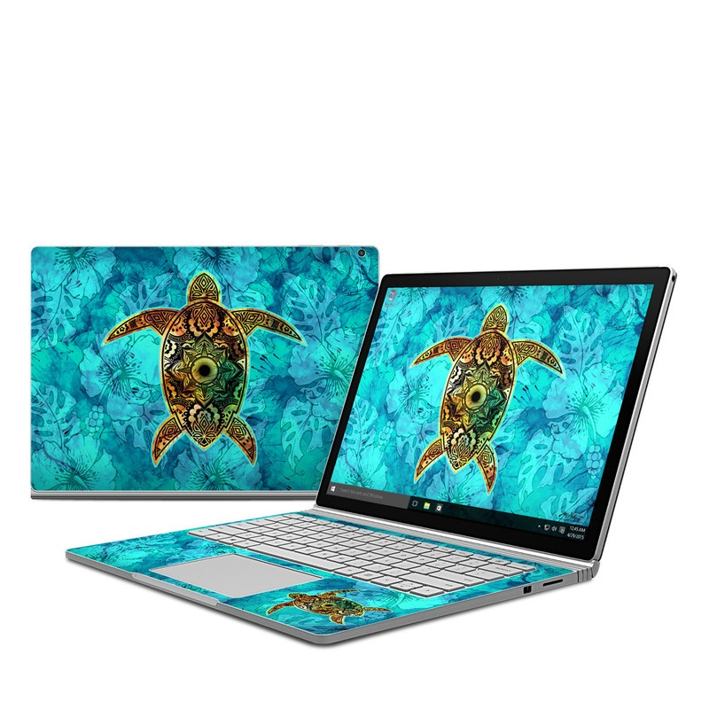 Microsoft Surface Book 1 Skin design of Sea turtle, Green sea turtle, Turtle, Hawksbill sea turtle, Tortoise, Reptile, Loggerhead sea turtle, Illustration, Art, Pattern with blue, black, green, gray, red colors