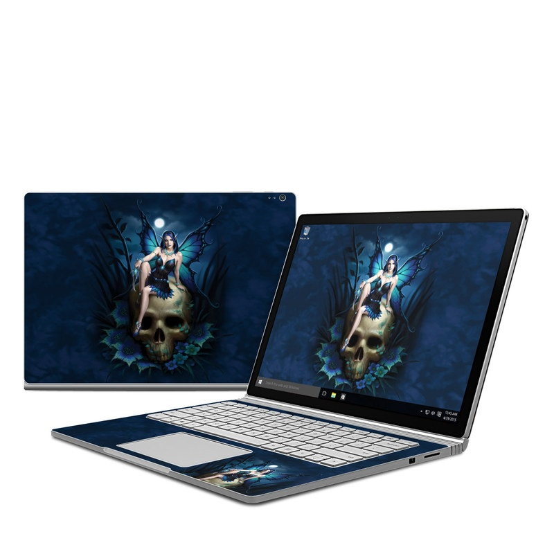 Microsoft Surface Book 1 Skin design of Cg artwork, Blue, Skull, Illustration, Darkness, Photography, Fictional character, Bone, Woman warrior, Graphics with black, gray, blue colors
