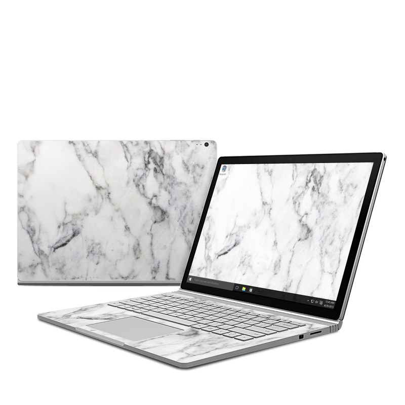White Marble Microsoft Surface Book 1 Skin