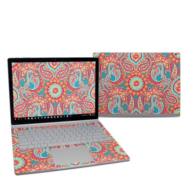 Microsoft Surface Book 2 13.5-inch i5 Skin design of Pattern, Paisley, Motif, Visual arts, Design, Art, Textile, Psychedelic art with orange, yellow, blue, red colors