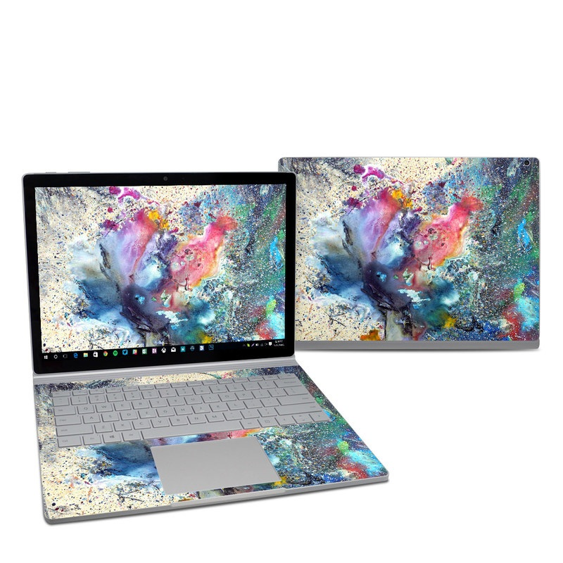 Microsoft Surface Book 2 13.5-inch i5 Skin design of Watercolor paint, Painting, Acrylic paint, Art, Modern art, Paint, Visual arts, Space, Colorfulness, Illustration with gray, black, blue, red, pink colors