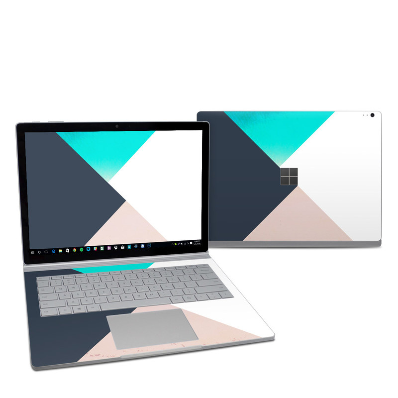 Microsoft Surface Book 2 13.5-inch i5 Skin design of Blue, Turquoise, Aqua, Line, Triangle, Design, Material property, Graphic design, Pattern, Architecture with black, white, brown, blue colors