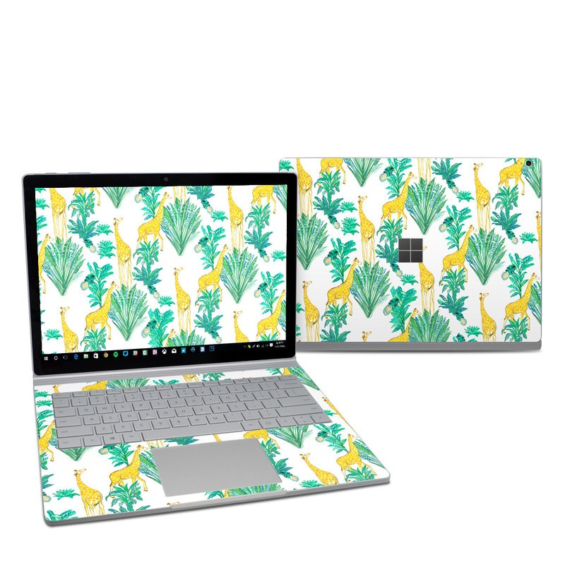 Microsoft Surface Book 2 13.5-inch i5 Skin design of Leaf, Plant, Botany, Pattern, Flower with white, yellow, green colors