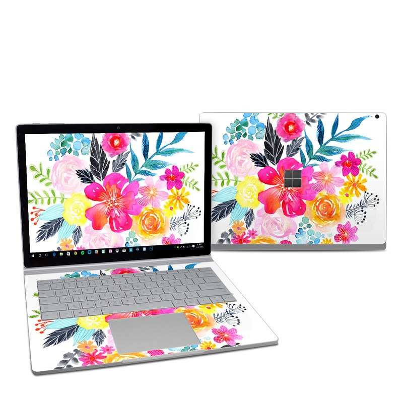 Microsoft Surface Book 2 13.5-inch i5 Skin design of Flower, Clip art, Bouquet, Plant, Illustration, Floral design, Pink, Petal, Botany, Design with white, pink, orange, red, yellow, blue, black, green colors